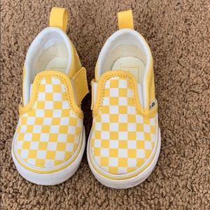 Vans Shoes - Yellow checkerboard slip on vans